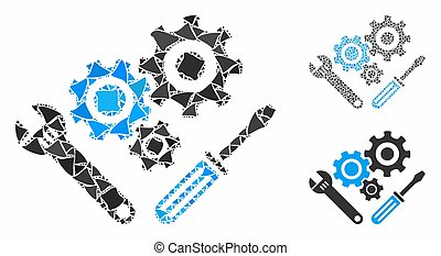 Mechanics tools Mosaic Icon of Tuberous Items