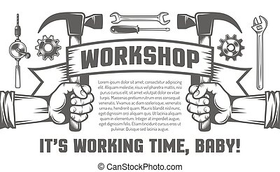 Mechanics Tools. - Flyer template for the workshop. Hand...