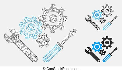 Mechanics Tools Vector Mesh Carcass Model and Triangle Mosaic Icon