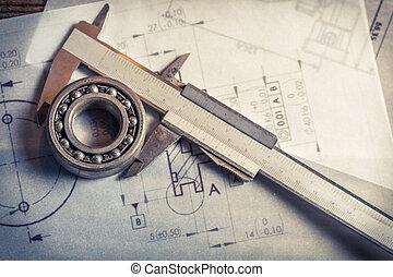 mechaniczny, nośny, suwmiarka, wykresy