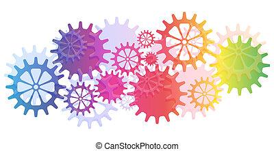mechaniczny, wektor, mechanizmy, tło, cogs.