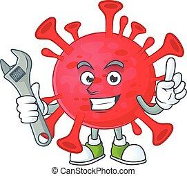 mechanik, ameba, pojęcie, coronavirus, projektować, maskotka