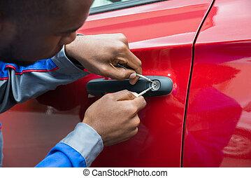 mechanik, dzierżawa, lockpicker, żeby otworzyć, wóz drzwi