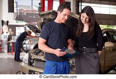 mechanik, i, klient, dyskutując, służba, klasa
