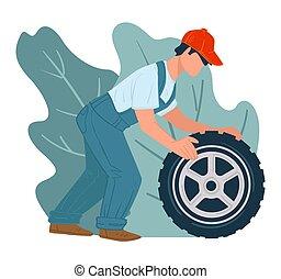 mechanik, laden, vektor, reifen, service, reparatur