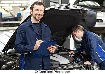 mechanik, reparatur, mechaniker, seine, hintergrund, shop.,...