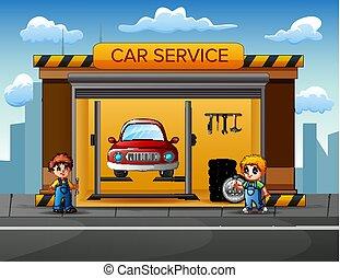 mechanika, megjavítás, hiány, autó, garázs