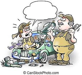mechanika, megjavítás, riddled, öreg, autó