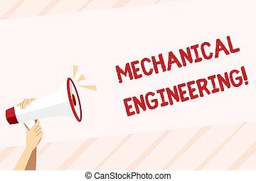 mechanika, odgłos, przemysłowy, dzierżawa, handlowy, fotografia, zainteresowany, mechaniczny, space., pisanie, zastosowanie, tekst, ręka, ludzki, engineering., konceptualny, megafon, pokaz, ikona