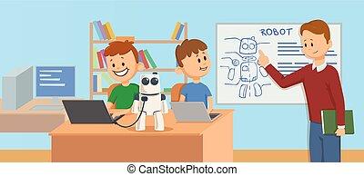 mechanika, płaski, dzieciaki, klasa, illustration., objaśniając, studenci, badając, science., robot, nauczyciel, robotics, wektor, scheme., przód, uśmiechanie się, style., rysunek, horizontal.