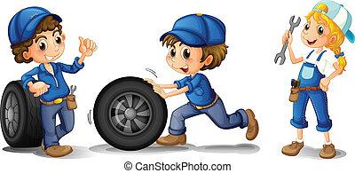 mechanika, samica, samiec, dwa, mechanik