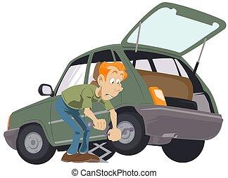 mechaniker, abbildung, auto, rim., replacementing, bestand, ermüden, service., auto