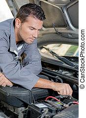 mechaniker, arbeiten, motor