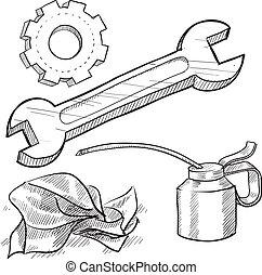 mechaniker, gegenstände, skizze