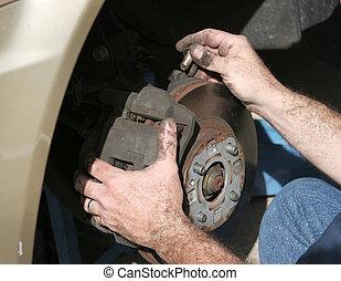 mechaniker, hände, bremsen