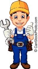 mechaniker, oder, heimwerker, karikatur