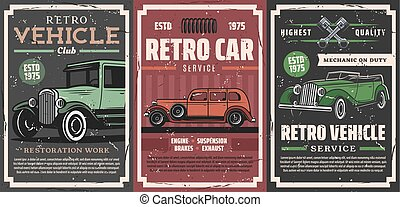 mechaniker, service, automotor, retro, klub
