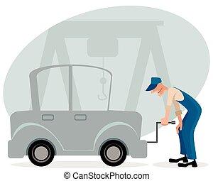 reparieren mann mechaniker gelbes auto hintergrund. Black Bedroom Furniture Sets. Home Design Ideas