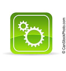 mechanisch, groene, toestellen, pictogram
