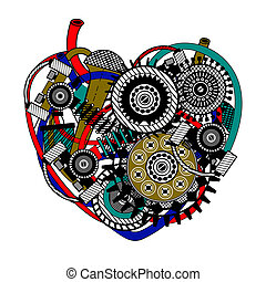 mechanisch, heart., vektor, illustration.