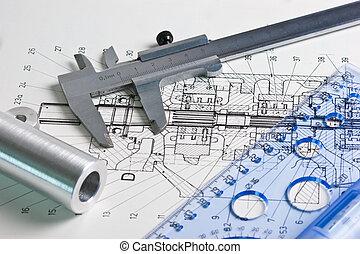 mechanisch, plan, en, calipers
