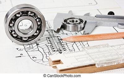 mechanisch, plan, lager
