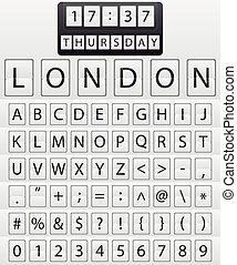 mechanisch, set, brieven, vector., timetable.