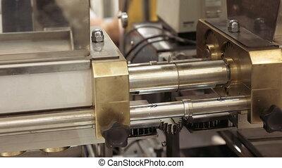 mechanisch, tandwiel, uitrusting, ronddraaien, tandrad