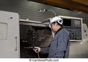 mechanisch, techniker, von, cnc, maschine