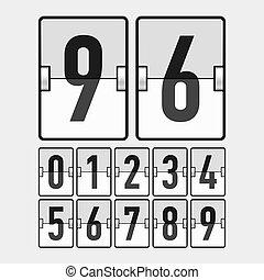 mechanisch, tijdschema, getallen