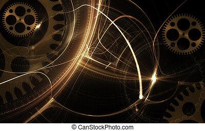 Mechanism, Ancient Golden Cogwheel On Black Background