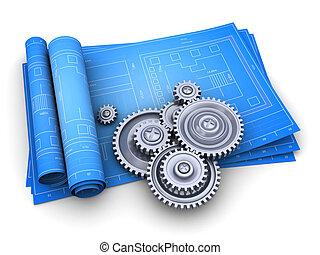 mechanism blueprints - 3d illustration of blueprints and...