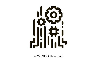 Mechanism Chip Icon Animation. black Mechanism Chip animated icon on white background