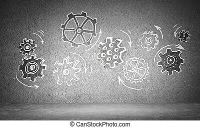 mechanism., concepto, trabajo en equipo, engranaje, medios