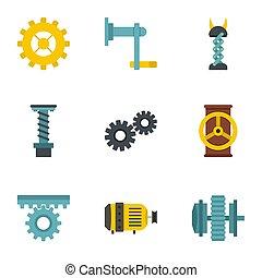Mechanism icon set, flat style