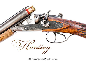 mechanism of hunting rifle close-up Isolated on white