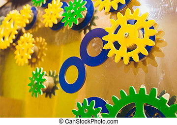mechanism of multi-colored gears, assembled puzzle. Business concept idea, teamwork, cooperation. collective creative, innovation. copy space.