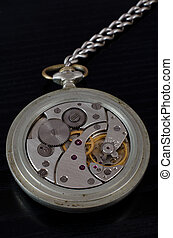 Mechanism of old pocket watch on a black background