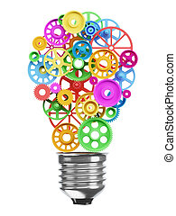 Mechanism of the gears in the form of an electric lamp bulb. Idea concept.