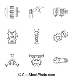 Mechanism parts icon set, outline style