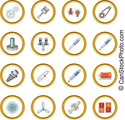 Mechanism parts icons circle