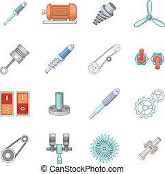 Mechanism parts icons set, cartoon style