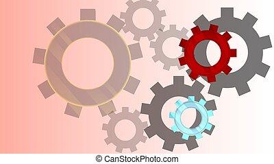 Mechanism. Pattern design of gears.