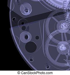 mechanism., raio x, relógio