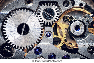 mechanism., vecchio, orologio