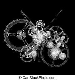 mechanism., wire-frame, render, relógio