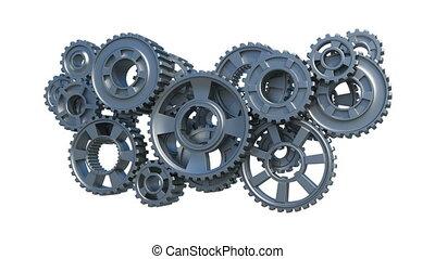 mechanisme, gemaakt, van, metaal, toestellen, doorwerken,...