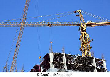 mechanisme, kraan, bouwsector, werktuig, van, bouwende industrie