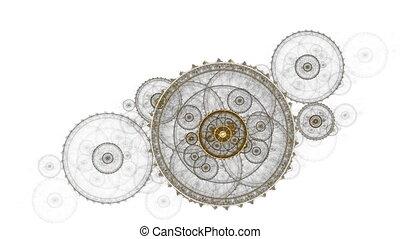 mechanisme, oud, klok, metalen