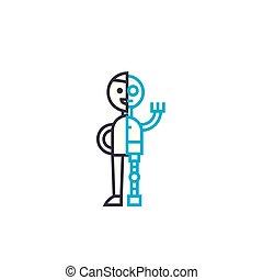 Mechanization of production linear icon concept. Mechanization of production line vector sign, symbol, illustration.